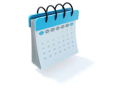 Blue calendar icon isolated on white