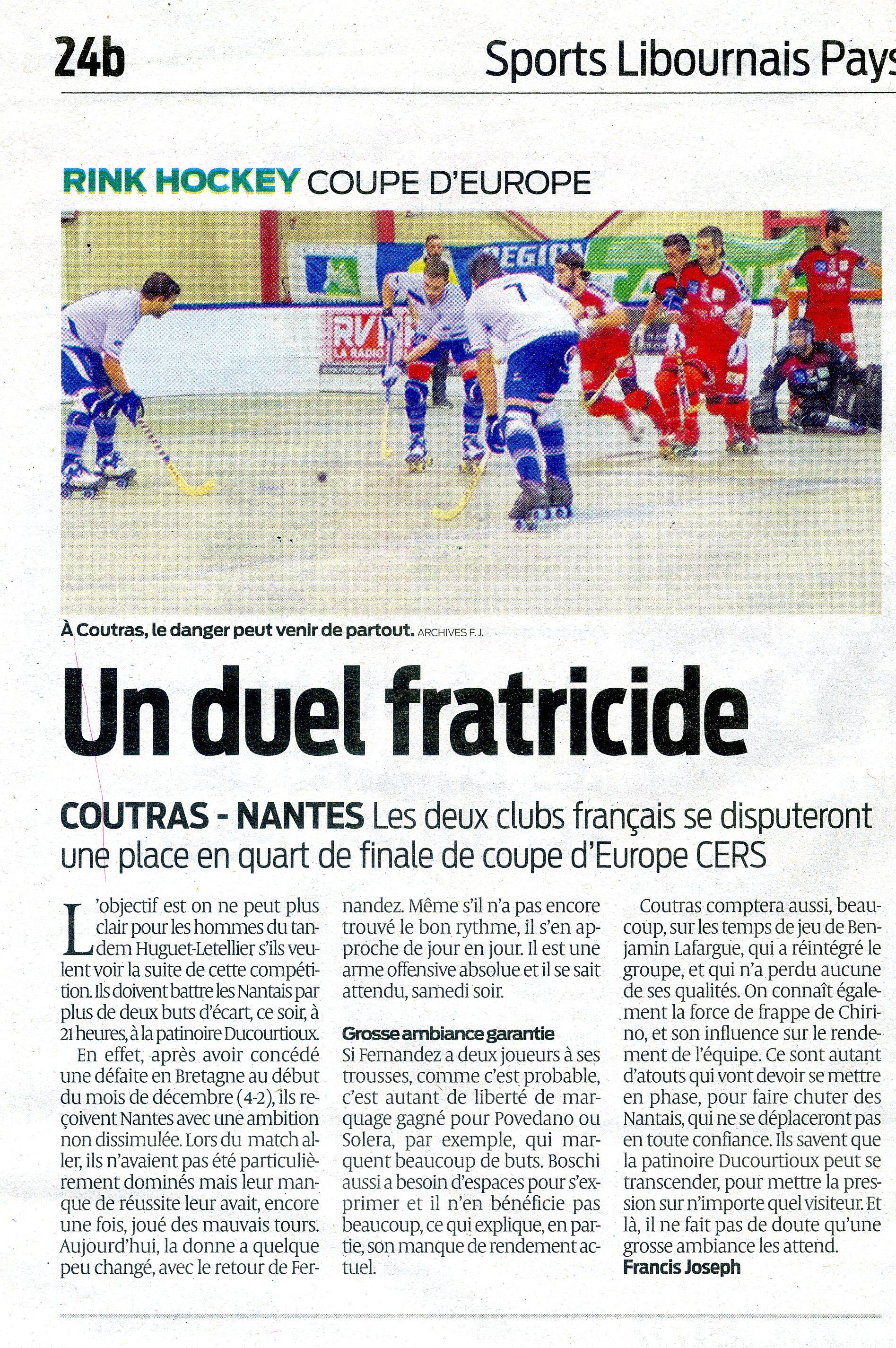 Objectif 1 4 de finale coupe d 39 europe us coutras rink - Coupe d europe 2000 finale ...